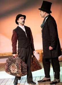 80-s-Simon Gregor (Passepartout) and Robert Portal (Phileas Fogg) in Around The World in 80 Days at St. James Theatre. Photo Simon Annand
